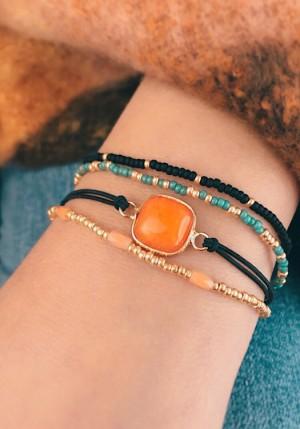 DIY pakket armbanden setje natuursteen amberglow orange gold blue