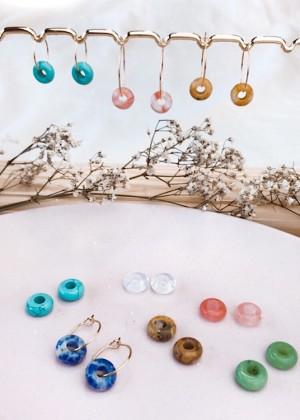 DIY pakket donut edelsteen oorbellen blauw