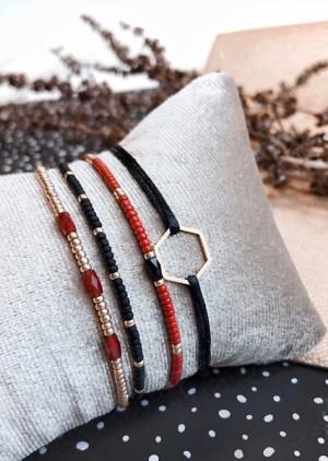 DIY pakket feestelijke armbandenset met zwarte satijnenarmband