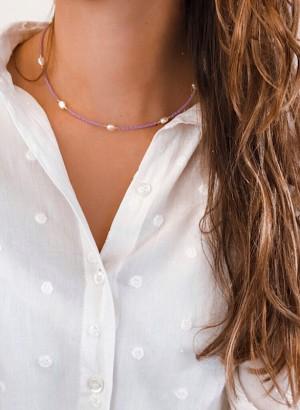 DIY pakket ketting purple pearls goud
