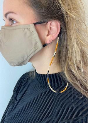 DIY pakket koordje voor mondkapje bruin, zwart en crème wit