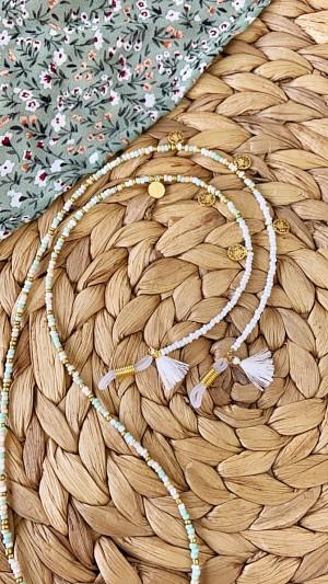 DIY pakket kralen zonnebrilkoord mint met muntjes en witte kwastjes