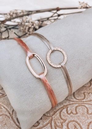 DIY pakket satijnenarmbanden ovaal roze en open cirkel beige