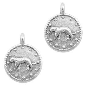 DQ bedel rond luipaard zilver 12mm