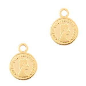 DQ bedel muntje goud 11x8mm
