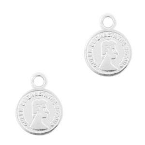 DQ bedel muntje zilver 11x8mm