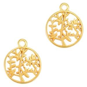 DQ bedel olijfboom goud 18x15mm