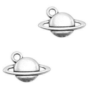 DQ bedel planeet saturnus 15x10mm zilver