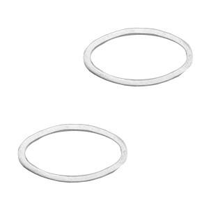 DQ bedel tussenzetsel dichte ring ovaal 8x15mm zilver