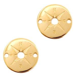 DQ bedel tussenzetsel kompas goud 20x20mm