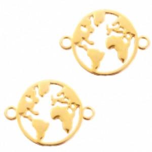 DQ bedel tussenzetsel wereldbol goud 26x20mm