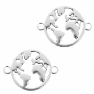 DQ bedel tussenzetsel wereldbol zilver 26x20mm