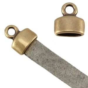 DQ eindkap 9x8mm brons (geschikt voor 5mm plat leer/koord)