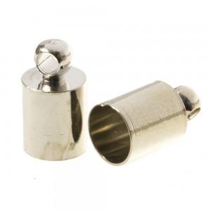 DQ eindkap antiek zilver (geschikt voor 5mm leer/koord)