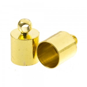 DQ eindkap goud (geschikt voor 6mm leer/koord)