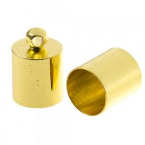 DQ eindkap goud (geschikt voor 8mm leer/koord)