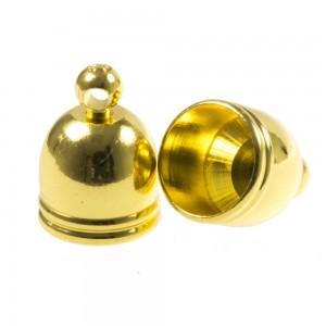 DQ eindkap ribbel goud (geschikt voor 8mm leer/koord)