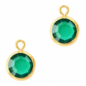 DQ facet hanger rond 10x7mm emerald green / goud
