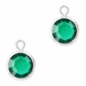 DQ facet hanger rond 10x7mm emerald green / zilver