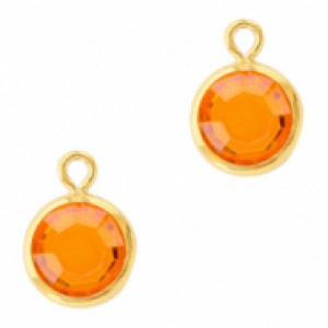 DQ facet hanger rond 10x7mm sun orange / goud