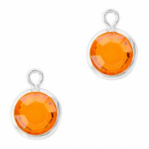 DQ facet hanger rond 10x7mm sun orange / zilver