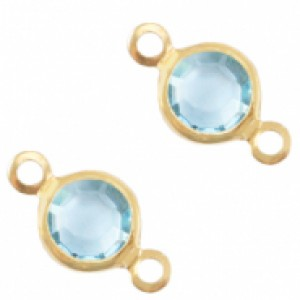 DQ facet tussenzetsel 6mm gold ether aqua blue crystal
