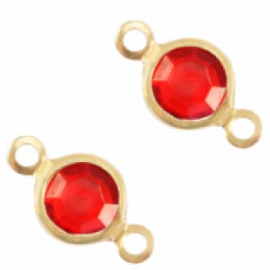 DQ facet tussenzetsel 6mm gold salsa red crystal