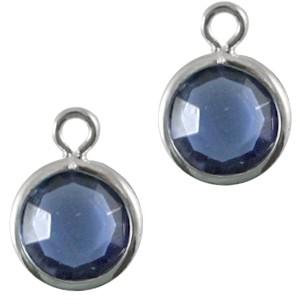 DQ facethanger 10x7mm sapphire blue zilver