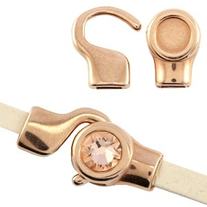 DQ haaksluiting 7mm Polaris of Swarovski SS34 26x13mm rosé goud (voor 5mm plat leer / koord)