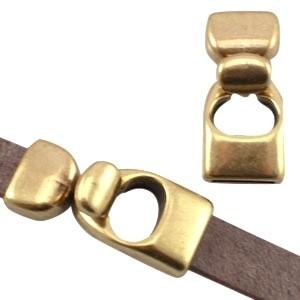DQ haaksluiting voor 10mm leer brons