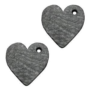 DQ leer hanger hart 25mm antracita zwart