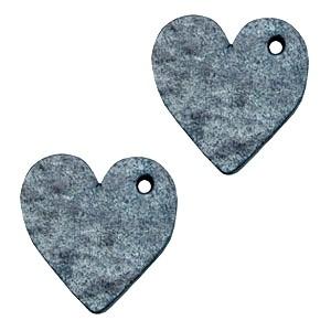 DQ leer hanger hart 25mm vintage blue