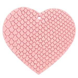 DQ leer hanger hart 5x6cm amaranth pink