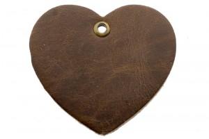 DQ leer hanger hart 5x6cm chocolade bruin