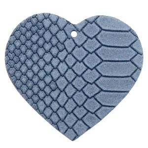DQ leer hanger hart 5x6cm coronet blue