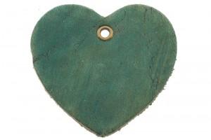 DQ leer hanger hart 5x6cm emerald
