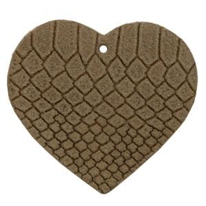 DQ leer hanger hart 5x6cm etherea brown