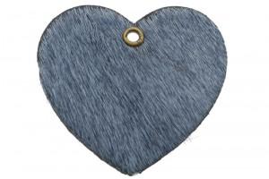 DQ leer hanger hart 5x6cm fluffy grijs