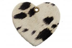 DQ leer hanger hart 5x6cm fluffy koe