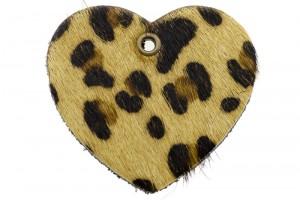 DQ leer hanger hart 5x6cm fluffy tijger