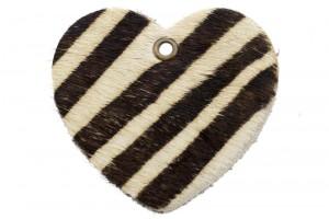 DQ leer hanger hart 5x6cm fluffy zebra