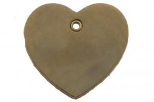 DQ leer hanger hart 5x6cm taupe olijf