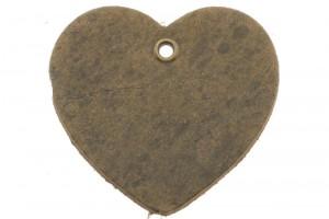 DQ leer hanger hart 5x6cm vintage taupe