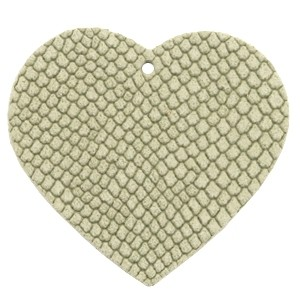 DQ leer hanger hart 5x6cm willow green