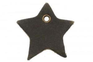 DQ leer hanger ster 4cm bruin grijs