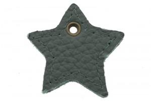 DQ leer hanger ster 4cm emerald grijs