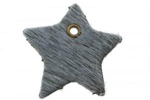 DQ leer hanger ster 4cm fluffy grijs