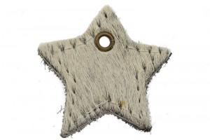 DQ leer hanger ster 4cm fluffy wit