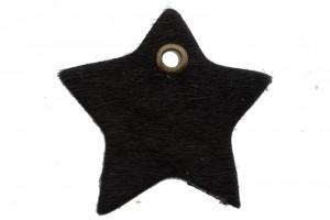 DQ leer hanger ster 4cm fluffy zwart