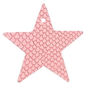 DQ leer hanger ster 5x5cm amaranth pink